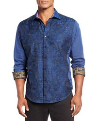 Robert Graham | Limited Edition Blue Embroidered Checked Long Sleeve Modern Fit Shirt for Men | Lyst