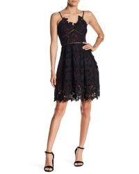 Romeo and Juliet Couture | Black Woven Sleeveless Lace Mini Dress | Lyst