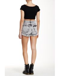American Apparel - Black Denim High-waist Cuff Short - Lyst