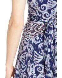 BCBGMAXAZRIA - Black Stretch Knit Faux Wrap Dress - Lyst