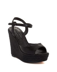Alice + Olivia - Black Jenna Snake Embossed Leather Wedge Sandal - Lyst