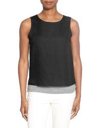 Eileen Fisher - Black Organic Linen Round Neck Shell - Lyst