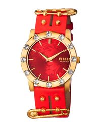Versus  - Red Women's Miami Crystal Fashion Watch - Lyst