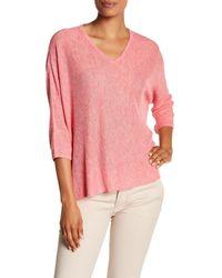 Eileen Fisher | Pink V-neck Boxy Knit Linen Shirt | Lyst