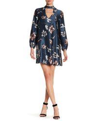 Amanda Uprichard | Blue Isla Long Sleeve Floral Silk Dress | Lyst