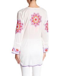 Letarte - Pink Deep Scoop Embroidery Pullover Tunic - Lyst