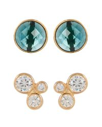Melinda Maria | Jasmine Cz Stud & Blue Topaz Earrings Set | Lyst
