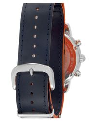 Brooks Brothers - Multicolor Men's Red Fleece Chronograph Leather Strap Watch for Men - Lyst