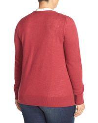 Sejour | Multicolor Crewneck Wool & Cashmere Cardigan (plus Size) | Lyst
