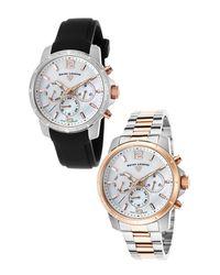 Swiss Legend - Black Women's Legasea Diamond Multi-function Casual Sport Watch - 0.1 Ctw - Set Of 2 - Lyst