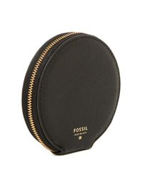 Fossil - Black Embellished Round Leather Coin Pouch - Lyst