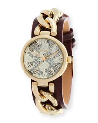 Steve Madden - Metallic Women's Analog Crystal Leather Strap Watch - Lyst