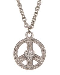 Judith Ripka | Metallic Sterling Silver Peace Sign Heart Charm Necklace | Lyst