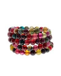 Savvy Cie Jewels - Red Faceted Multicolor Agate Coil Wrap Bracelet - Lyst