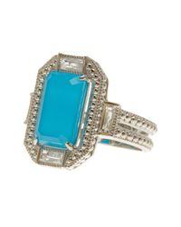Judith Ripka - Multicolor Sterling Silver Baguette Wrap Elongated Emerald Cut Turquoise Ring - Size 7 - Lyst