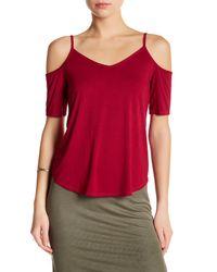 Splendid | Red Cold Shoulder V-neck Shirt | Lyst