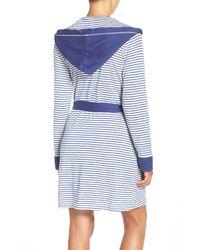 Splendid - Blue Hooded Cotton Blend Robe - Lyst