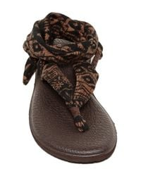 Sanuk | Brown Yoga Slinged Up Ankle Tie Sandal | Lyst
