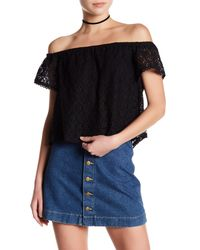 Lush | Black Crochet Lace Blouse | Lyst