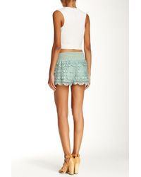 Jolt | Green Faux Suede Tiered Short (juniors) | Lyst