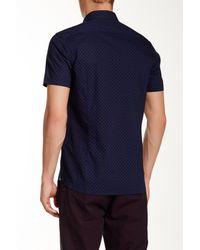 Ted Baker   Blue Short Sleeve Ghost Print Slim Fit Shirt for Men   Lyst