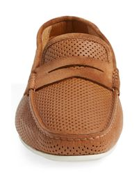 Santoni - Brown 'tanton' Perforated Leather Driving Shoe for Men - Lyst
