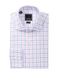 David Donahue | Blue Patterned Trim Fit Dress Shirt for Men | Lyst