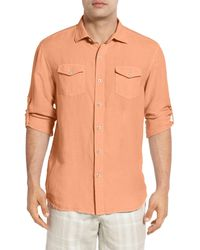 Tommy Bahama   Orange New Sand Linen Blend Regular Fit Long Sleeve Shirt for Men   Lyst