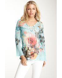 Sienna Rose | Blue Sheer Floral Print Bias Tunic | Lyst