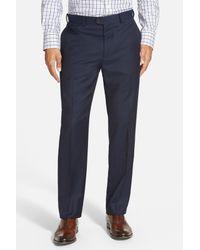 Bensol - Blue 'gab' Trim Fit Flat Front Pants for Men - Lyst
