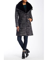 SOIA & KYO | Black Faux Fur Collar Wool Blend Coat | Lyst
