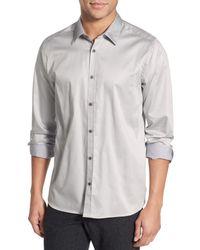 Ted Baker | Gray Modern Slim Fit Plancuf Stretch Long Sleeve Sport Shirt for Men | Lyst