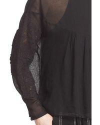 Tibi - Black 'anai' Lace Applique Tie Back Blouse - Lyst