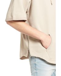 The Rail - Natural Zip Detail Short Sleeve Hoodie for Men - Lyst