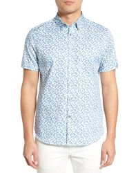 Ted Baker - Blue Leafit Leaf Print Modern Slim Fit Short Sleeve Sport Shirt for Men - Lyst