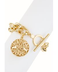 Trina Turk | Metallic Domed Flower Charm Bracelet | Lyst
