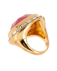 Trina Turk - Pink Domed Stone Bezel Set Crystal Ring - Lyst