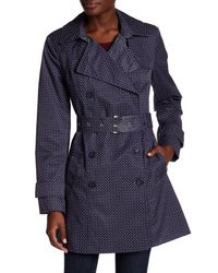 Tommy Hilfiger | Blue Belted Printed Trench Coat | Lyst