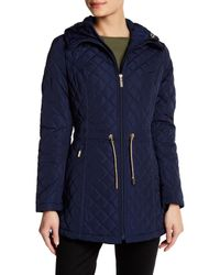 Laundry by Shelli Segal | Blue Quilted Hooded Jacket | Lyst