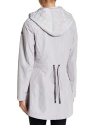Laundry by Shelli Segal - Gray Hooded Cinch Zip Raincoat - Lyst
