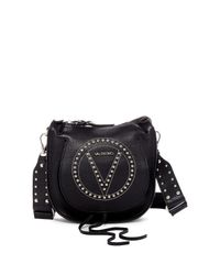Valentino By Mario Valentino | Black Sylvie Leather Saddle Bag With Guitar Strap | Lyst