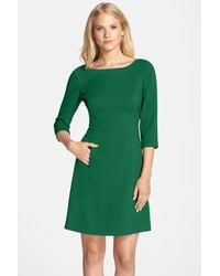 Vince Camuto - Green Crepe A-line Dress - Lyst