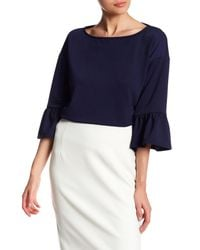 Gibson | Blue Boxy Bell Sleeve Blouse | Lyst