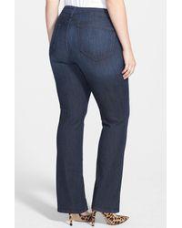 NYDJ - Blue 'billie' Stretch Mini Bootcut Jeans - Lyst