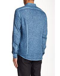 John Varvatos - Blue Long Sleeve Slim Fit Linen Shirt for Men - Lyst