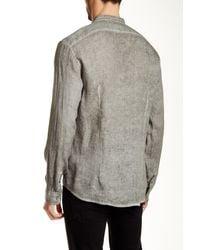 John Varvatos - Gray Wing Collar Trim Fit Linen Shirt for Men - Lyst