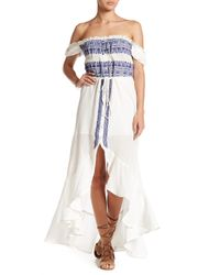 Gypsy 05 - Blue Off-the-shoulder Flirty Embroidered Dress - Lyst
