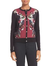 Ted Baker | Black Bejewelled Shadows Print Woven Front Cardigan | Lyst
