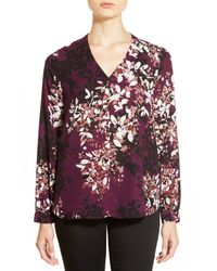 Pleione - Purple High/low V-neck Blouse - Lyst