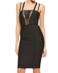 Missguided - Black Lace-up Bodice Body-con Dress - Lyst